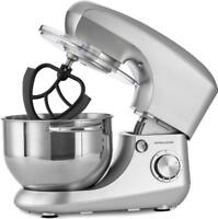 Andrew James Silver Stand Food Mixer with 5.5L Bowl & 4 Mixing Attachments 800W