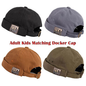 Vintage Kids Mens Docker Cap Rolled Cuff Brimless Sailor Cap Beanie Hat Skullcap