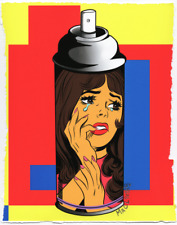 MR CLEVER ART CONTEMPORARY CRYING GIRL GRAFFITI SPRAY CAN #2 abstract urban deco