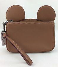 New Authentic Coach F59529 Wristlet In Glove Calf Leather With Mickey Ears Saddl