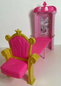 BARBIE PINK GOLD PRINCESS FOLDING BED WITH CHAIR AND SMALL STORAGE BIN