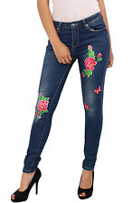 NEW Womens Flower Skinny Jeans Stretch Denim Indigo Blue Slim Size 6 8 10 12 14