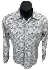 Insitu X Western Campdraft Pearl Snap LS White Blue Paisley Shirt Sz M