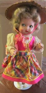 Vintage European Celluloid Hard Plastic Doll Flirty Eyes For Parts or Restore
