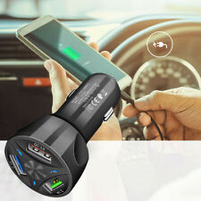 3-Port USB Car Charger Adapter LED Display QC 3.0 Fast Charging for Android IOS.