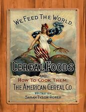 "TIN-UPS TIN SIGN ""Cereal Foods And How To Cook Them"" Photo Vintage Kitchen Cave"