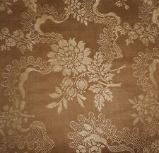 Antique French Floral Garland Linen Cotton Damask Fabric ~ Unique Brown ~