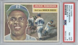JACKIE ROBINSON 1956 TOPPS #30 WHITE BACK PSA 8 NM-MT LOS ANGELES DODGERS