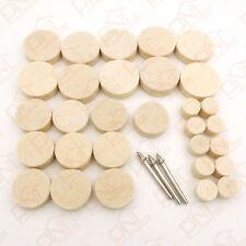 33) 1/8 Shank Soft Felt Polishing Buffing Wheel Mixed Set Acces Rotary Tool