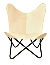 Creamy Butterfly Chair Iron Stand and Leather Cover Indoor Outdoor Chair