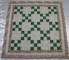 """Irish Chain """"Green Floral 1"""" Quilt Top~PIECED~PATCHWORK~Baby,Wall,Lap  40"""" X 40"""""""