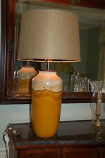 1960s Mid 20th Modern European GLAZE POTTERY TABLE LAMP Gold Earth Tones GERMANY