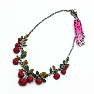 Betsey Johnson Women's Red Resin Cherry Pendant Chain Choker Necklace Sweet Gift
