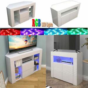 RGB LED Shelves Corner TV Cabinet Stand Unit Media Storage   W/ Door High Gloss
