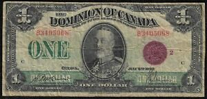 "1923 $1 Dominion of Canada Large Note ""VF"" *Free S/H After 1st Item*"