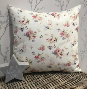 "Rose & Hubble Cream Vintage Floral Spray Flowers Cushion Cover 16"" Shabby Chic"