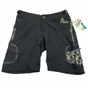 Fox Riders Womens Mid Rise Casual Flat Front Black Diva Shorts Size Large