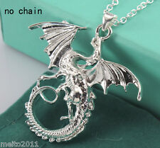 Silver Flying Dragon Die-casting 925 Silver Charms Pendant For Necklace Jewelry
