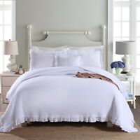 Audrey White 100% Cotton Coverlet Bedspread Bedcover Comforter Set 3pcs - Queen