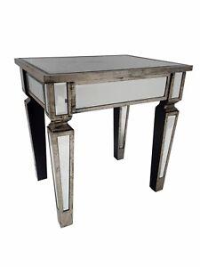 Mirrored Venetian Glass Dressing Table Stool Bedroom Silver Wood Furniture
