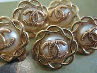 💋💋💋💋💋 Chanel 10 small buttons  13mm lot of 10 pearl gold TONE CC