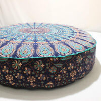 Indian Peacock Mandala Cotton Cushion,Dog Beds,Pet Bed,Pouf Pouffe Seating Cover