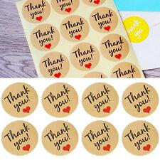 "New listing 60Pcs Heart ""Thank You"" Kraft Sticker Label for Wedding Favor/Envelope/Car Fu"