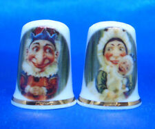 Birchcroft  Thimbles Pair -- Punch and Judy  --  Free Dome Gift Boxes