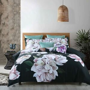 Bianca Tazanna Black Quilt Doona Cover Set   Gorgeous Large Peonies
