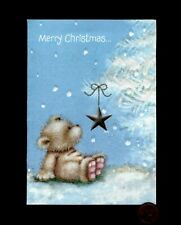 Vintage Christmas Teddy Bear Star Ornament Tree - Greeting Card New W/ Tracking