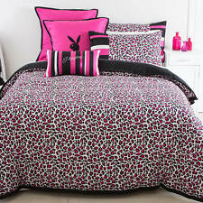 PLAYBOY BUNNY PINK BLACK LEOPARD DOUBLE bed QUILT DOONA COVER SET NEW