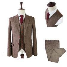 814faf51c Herren Braun Fischgrät Tweed 3 Stück Anzüge Wollmischung Hochzeitsfeier  Anzüge