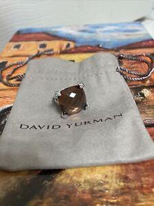 David Yurman Silver 20mm Cushion On Point Morganite & Diamond Ring Sz. 6