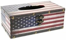 """Tissue Box Wood Cover Holder - American Flag - Red White and Blue - 10 x 6 x 4"""""""