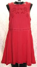 Free People Womens 10 Dress Red Sleeveless Embroidered Flowers Side Zip Lined