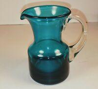 "Small Blue Jug Pitcher Handblown Whitefriars Glass Vintage 4""Tall."