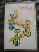 Vintage Greeting Card: Get Well Soon (Cats and Flowers). Unused. Age Unknown.