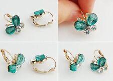 2pair Fashion Crystal Earrings Multicolor Butterfly Stud Earrings Women Jewelry