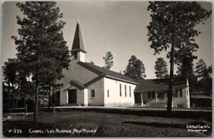 "LOS ALAMOS, New Mexico RPPC Real Photo Postcard ""CHAPEL"" Church View c1950s"