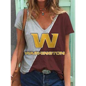 Washington Football Team Women Summer Short Sleeve Blouse V-Neck T Shirt Tops