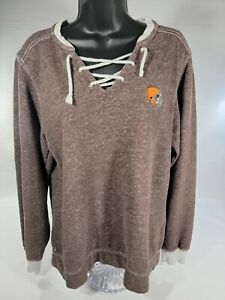 Antigua Women's NFL Cleveland Browns Logo V-neck Lace Up Shirt Sweatshirt XL