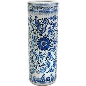 Umbrella Stand, 24-Inch White Porcelain Holder Home Antique Design, Floral Blue