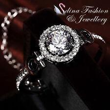 18K White Gold Plated Simulated Diamond Luxury 4.0 Carat Studded Halo Bracelet