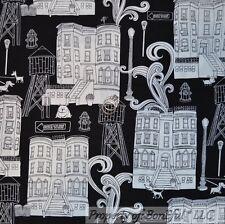 BonEful Fabric FQ Cotton Quilt Black White B&W City Dog House L Home Town Street
