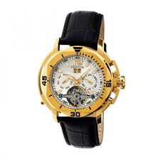 Heritor Automatic Lennon Men's Semi-Skeleton Black Leather Gold Watch HR2803