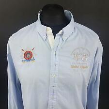 LA MARTINA Mens Guards Polo Club SHIRT 2XL Long Sleeve Blue Regular Fit  Cotton