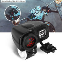 Red LED Voltmeter Cell Phone Handlebar Dual USB Charger Adapter For Motorcycle