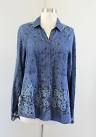 Free People Dottie Over You Floral Chambray Button Down Shirt Blouse Sz S Plaid