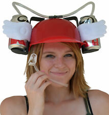 Beer & Soda Guzzler Helmet & Drinking Hat, Red With Angel Wings - Party Hat NEW!