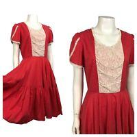 1950s Western Patio Dress / 50s Red Polka Dot Prairie Style Dress / Small